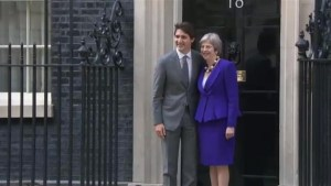 Justin Trudeau meets with British Prime Minister Theresa May